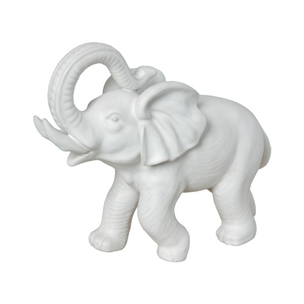 Matte White Ceramic Elephant Figurine With A Glaze This