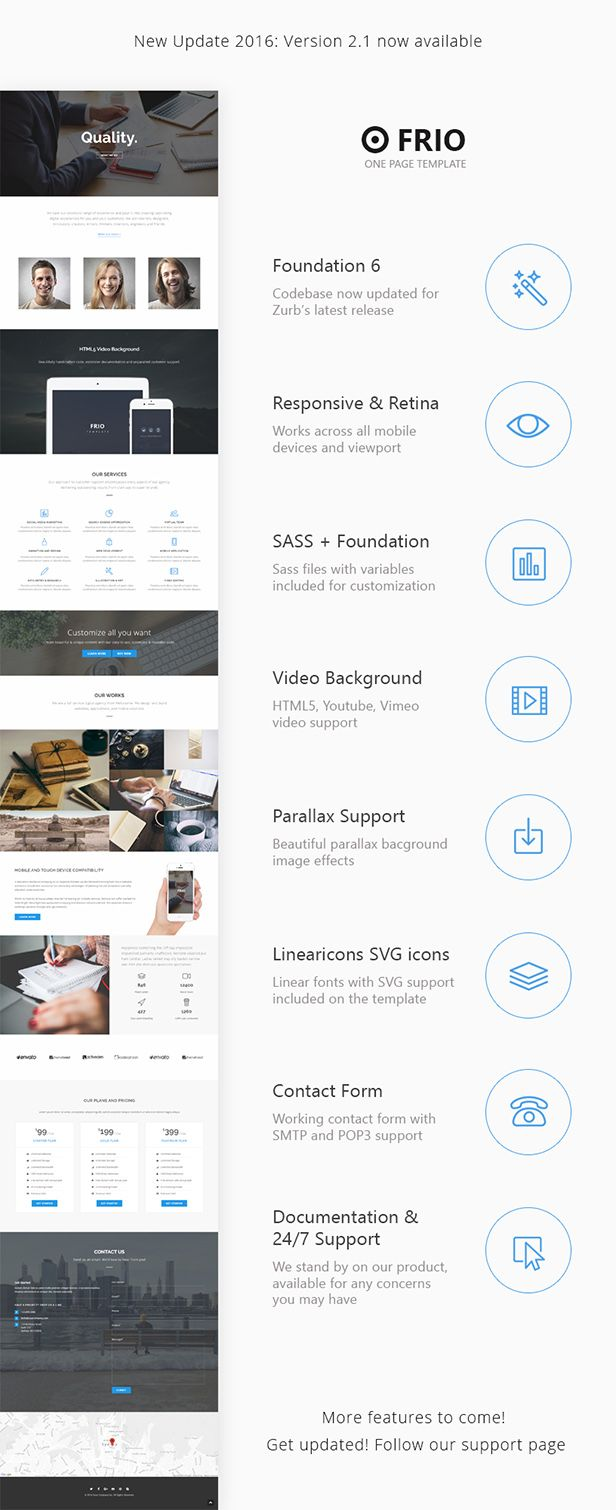 Frio One Page Zurb Foundation Template Download Theme