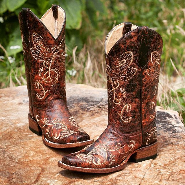 a7ab598c1c5 Circle G Womens Embroidered Dragonfly Square Toe Cowgirl Boots Brown ...
