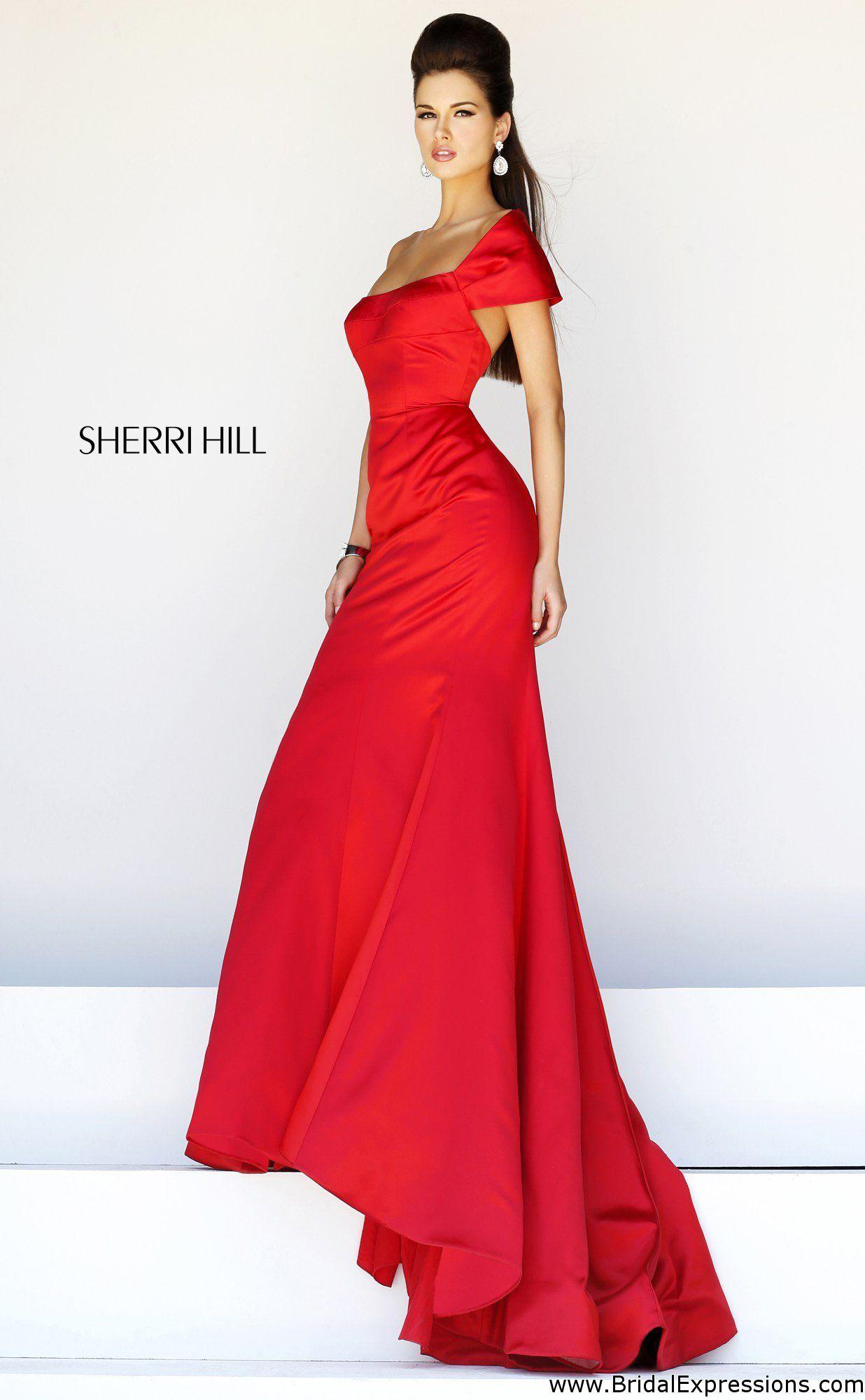 Sherri hill satin mermaid prom dress maxi bottom pinterest