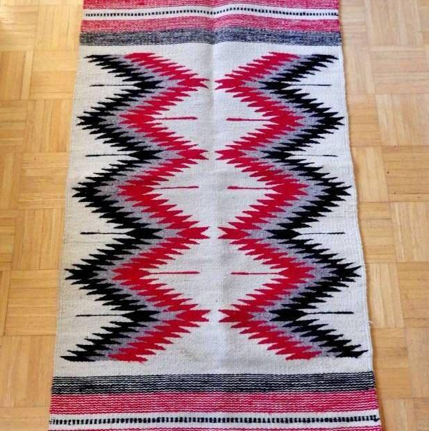 Vintage 70 S Artesanias Maya Wool Rug Chevron Zapotec 28