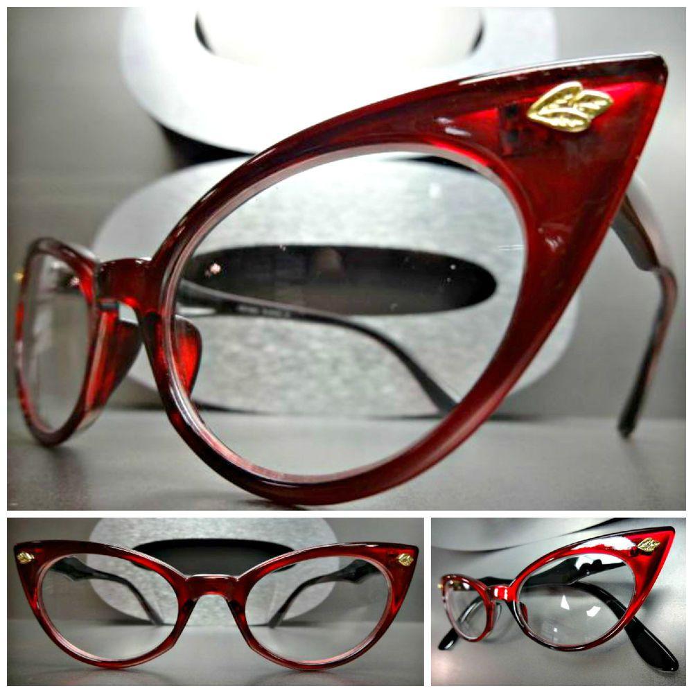 efb02c974af5 CLASSIC VINTAGE RETRO 60s CAT EYE Style Clear Lens EYE GLASSES Red Fashion  Frame in Health & Beauty, Vision Care, Eyeglass Frames   eBay