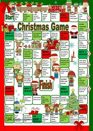 Christmas Game Present Simple Vs Present Continuous Christmas Worksheets Christmas Games Christmas Board Games