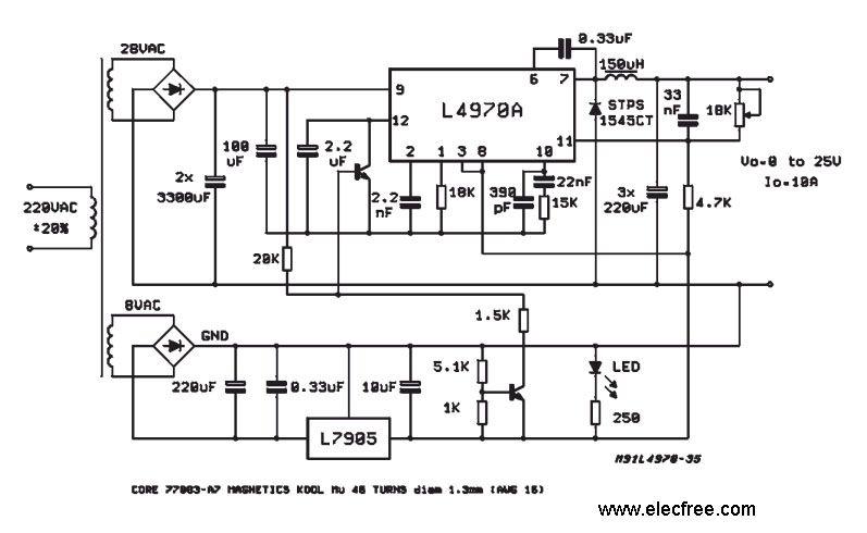 l4970 adjustable switching voltage regulator, 0 25v 10a10a switching voltage regulator circuit using l4970