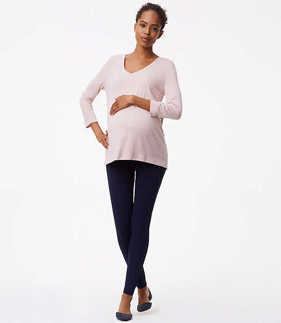 6532a1fa6420b Maternity Leggings in Seamed Ponte // LOFT | maternity and nursing ...