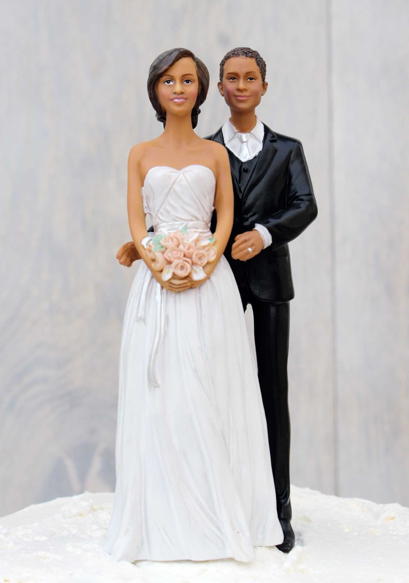 This Sophisticated African American Wedding Couple Cake Topper Shows The Groom In An Elegant Yet