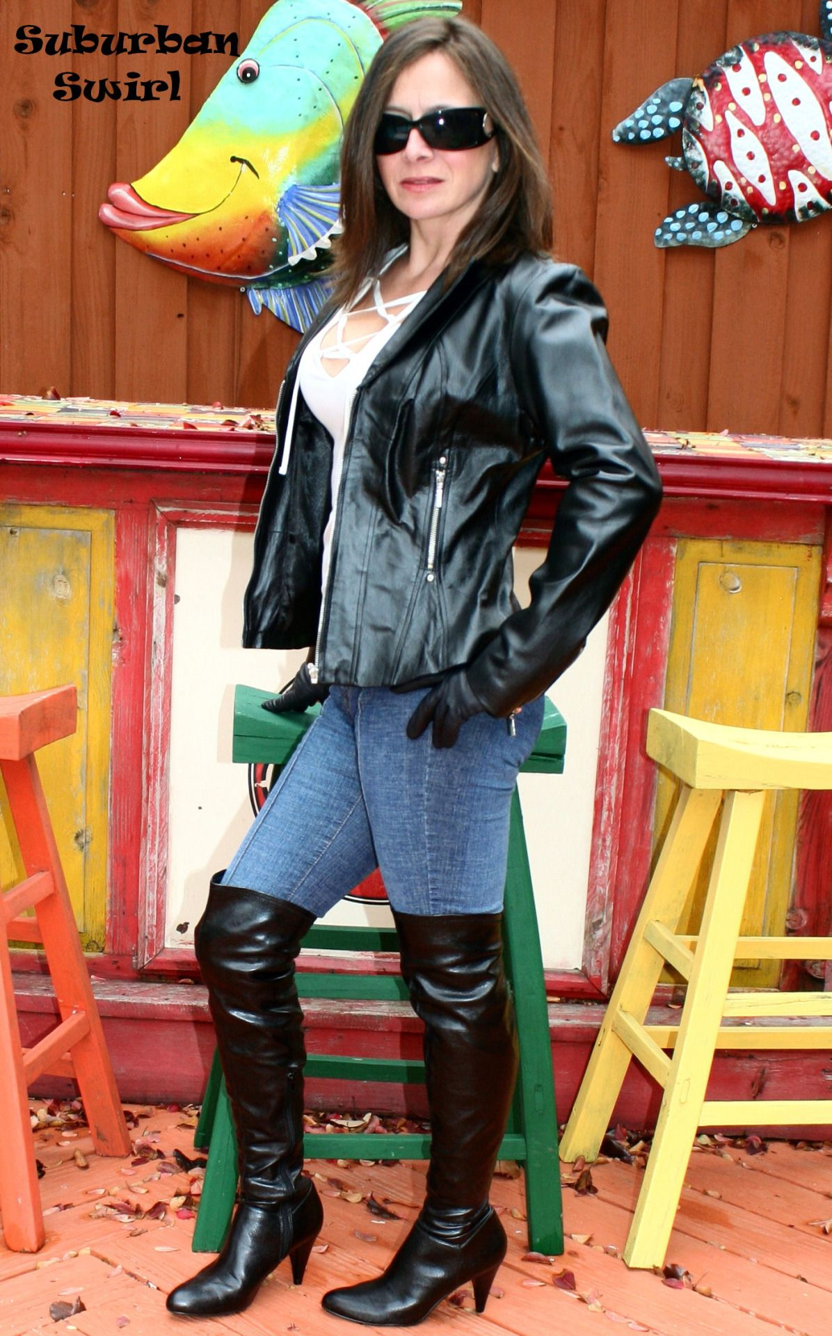 Ladies in leather gloves and boots - Leather Jacket By Metrostyle Jeans By Venus Leather Gloves By Wilsons And Boots By