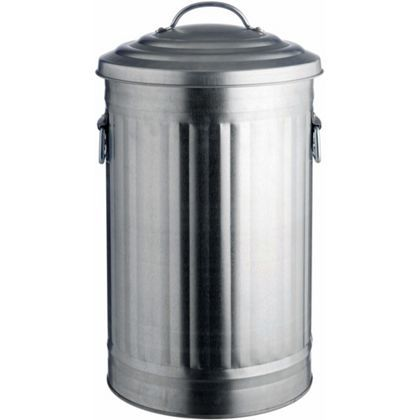 habitat alto steel waste bin galvanized 32l at homebase. Black Bedroom Furniture Sets. Home Design Ideas