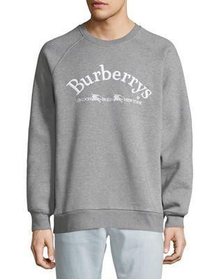 Burberry Men's Battarni Embroidered Logo Jersey Crewneck