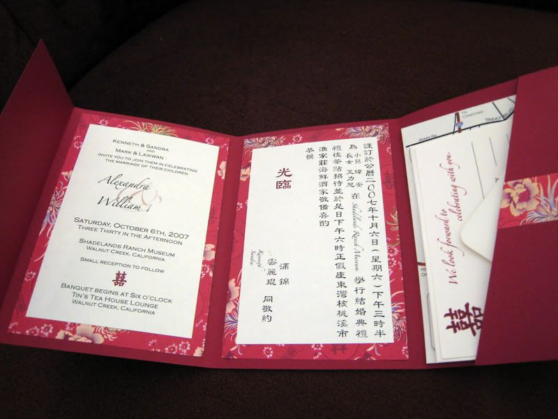 DIY Pocketfold Invitation Chinese Wedding
