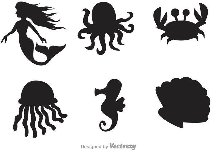 Sea Life Silhouette Icons Fairy Silhouette Fish Silhouette Silhouette Clip Art