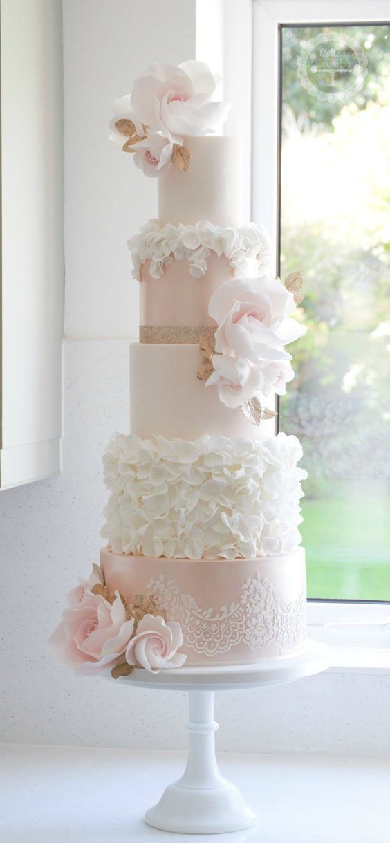 Tall 5 Tiered White And Blush Pink With Lace And Ruffles Fondant