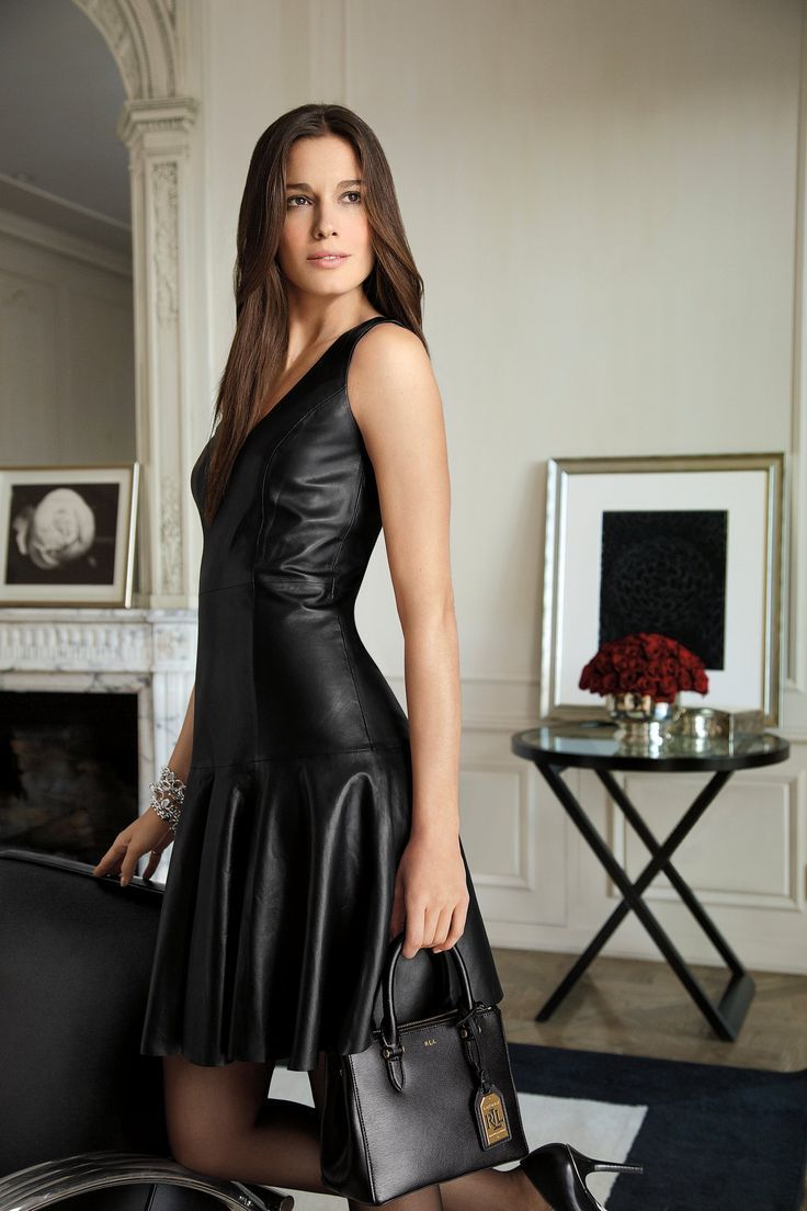 This luxe Lauren Ralph Lauren sleeveless dress is crafted from smooth leather and features a sharp V-neckline. #blacksleevelessdress