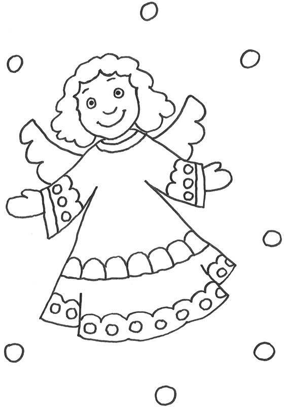 dieses biblische ausmalbild zeigt einen engel mit lockigem