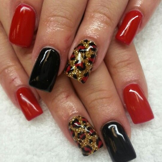 Instagram Boop711 Acrylic Nails With Black And Red Shellac Gold Glitter Cheetahs Print