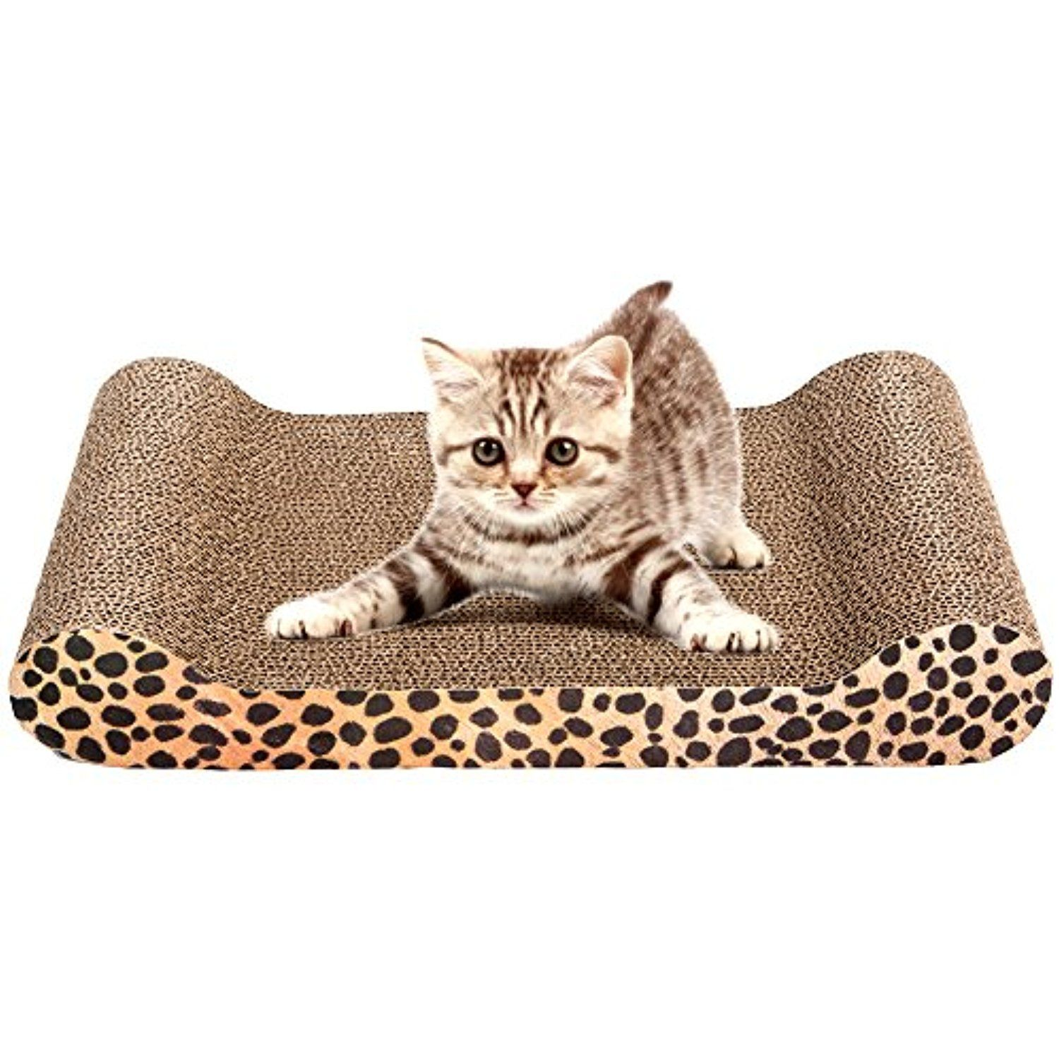 Cat Scratcher Lounge Couch Kitty Corrugated Scratching Pad Sofa Bed Protect  Furniture Includes Catnip U003e