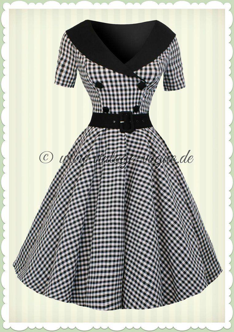 7ef9c54d964336 Hell Bunny 50er Jahre Rockabilly Gingham Kleid - Bridget - Schwarz Weiß