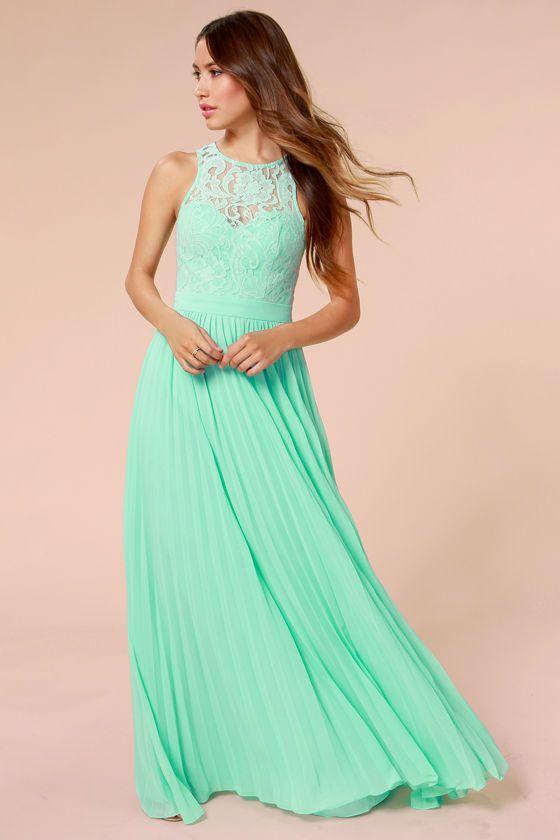 Mintgroene Maxi Jurk.X Bariano Best Of Both Whirleds Mint Green Lace Maxi Dress Wedding