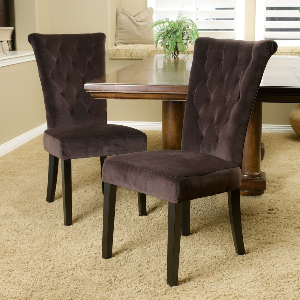 Set Of 2 Chocolate Brown Velvet Dining Chairs W On Tufted Accents