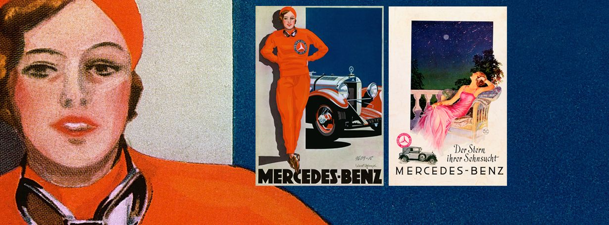 Mercedes-Benz History Carl Benz History Tradition Advertising Advertisements Posters Der Stern ihrer Sehnsucht Atelier Hans Neumann Frau in Rot Edward Cucuel Offelsmeyer. // Kultowe reklamy Mercedes-Benz.