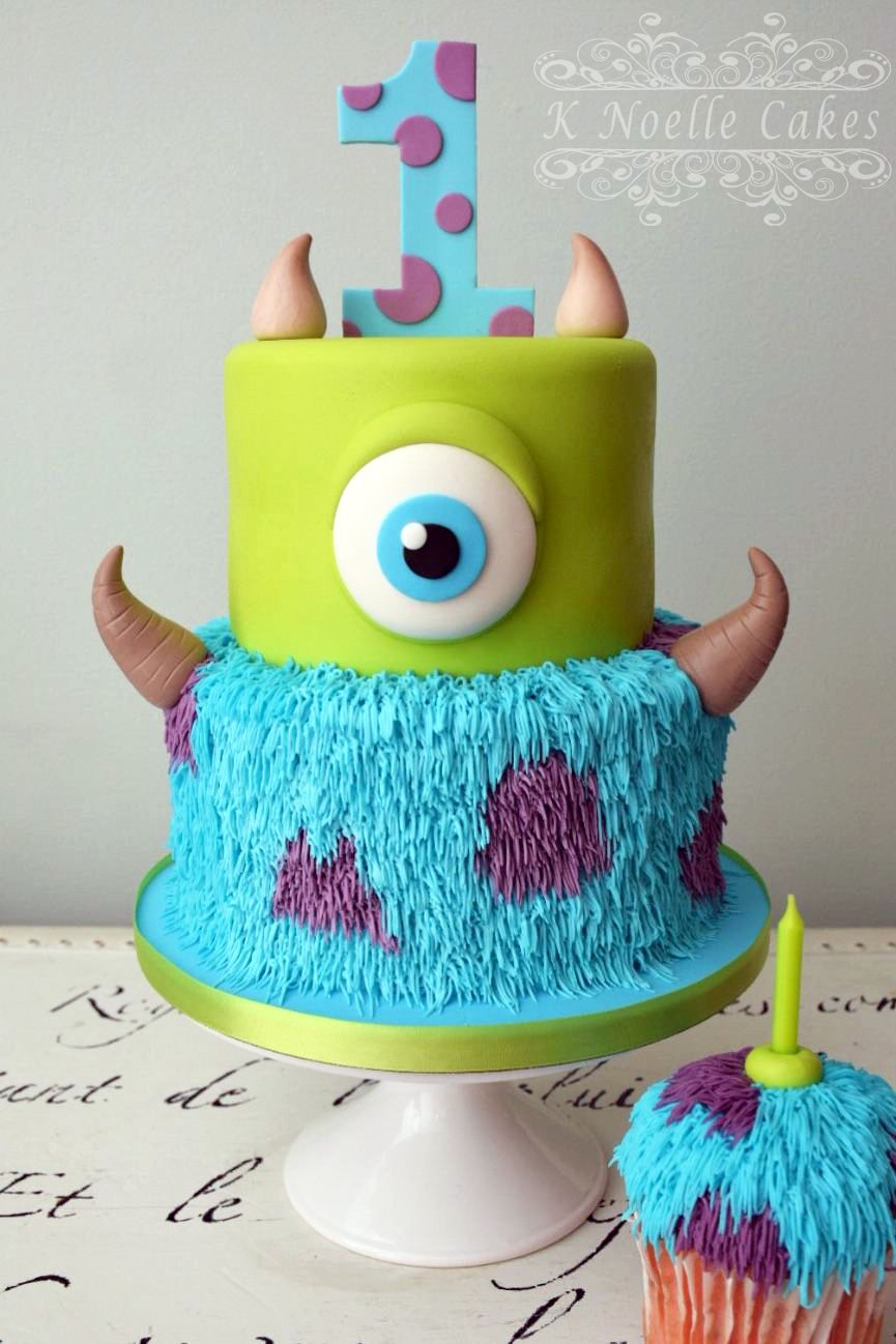 Peachy Monster Inc Cake By K Noelle Cakes Monster 1St Birthdays Personalised Birthday Cards Veneteletsinfo