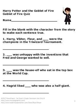 Free End Of Book Quiz Harry Potter And The Goblet Of Fire Goblet Of Fire Harry Potter Quiz