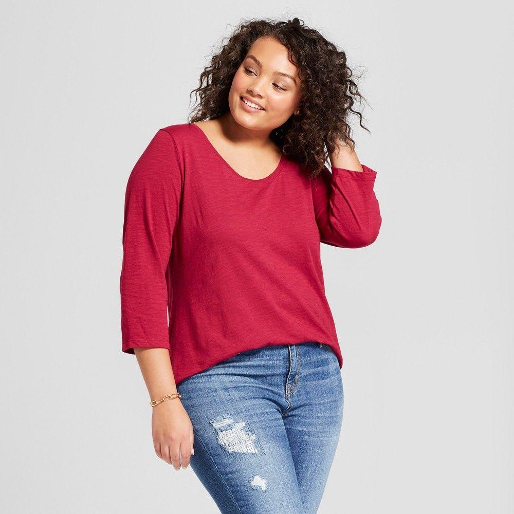 2f6f3ec18c1e0 Women's Plus Size 3/4 Sleeve T-Shirt - Ava & Viv Manzanita Berry (Pink) 1X