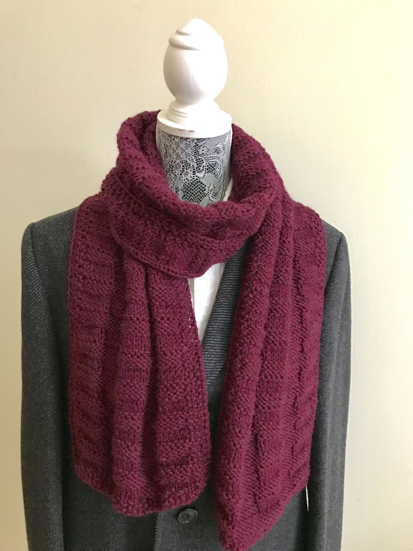Burgundy Hand Knitted Cowel