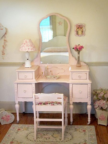Shabby Chic Delightfully Pink Antique Vanity With Mirror And Bench