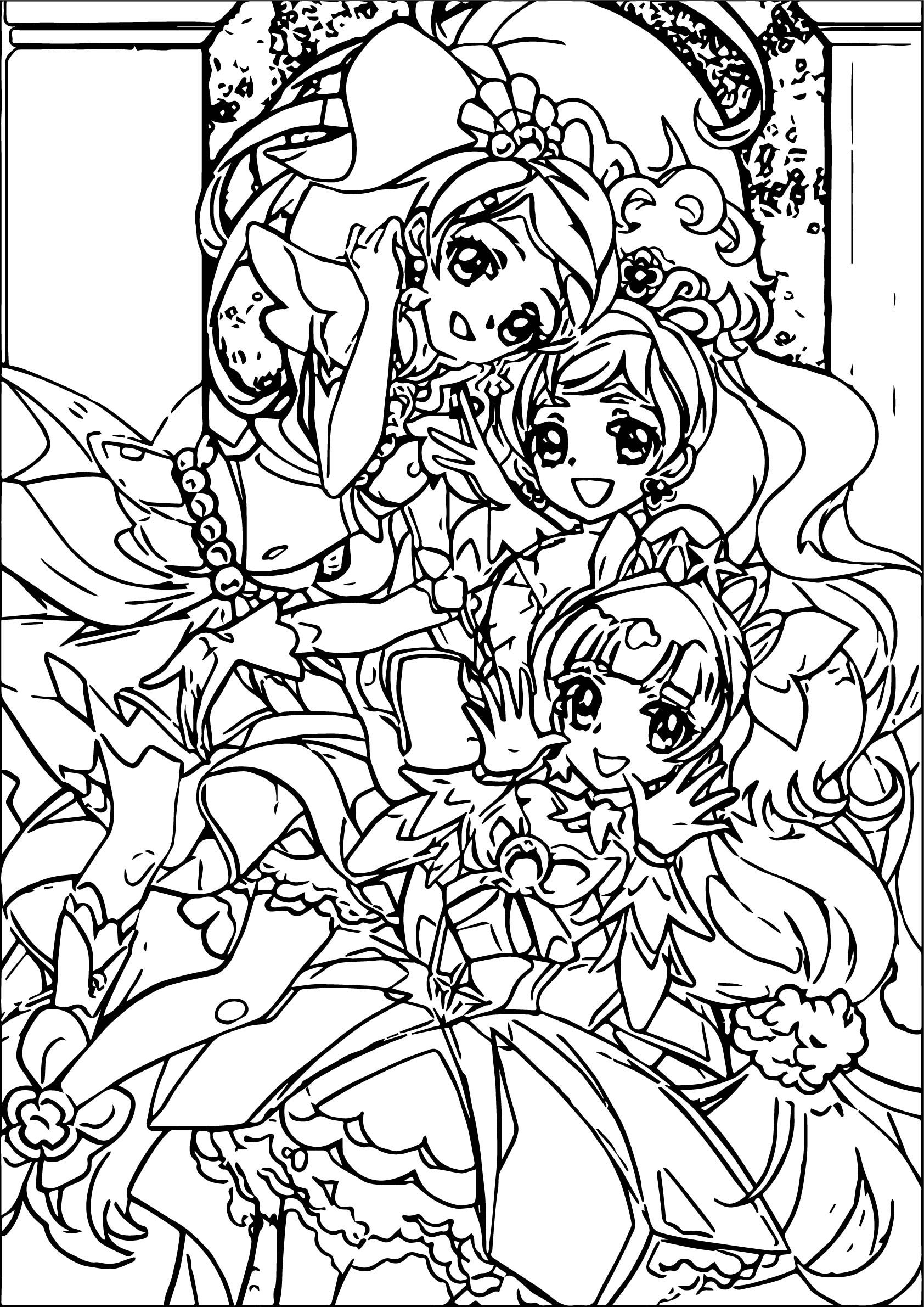 Cool Glitter Force Three Beauty Girls Coloring Page