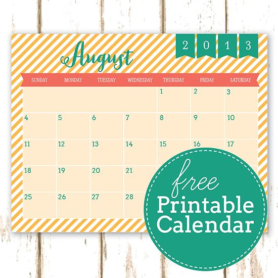 Free Printable August Calendar 2013