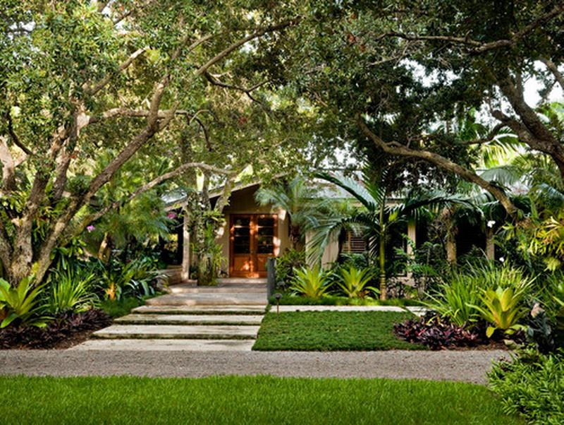 Modern Tropical Front Garden Patio Exterior | Tropical ... on Tropical Landscaping Ideas For Small Yards id=75824