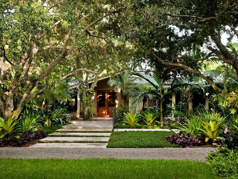 modern tropical front garden patio