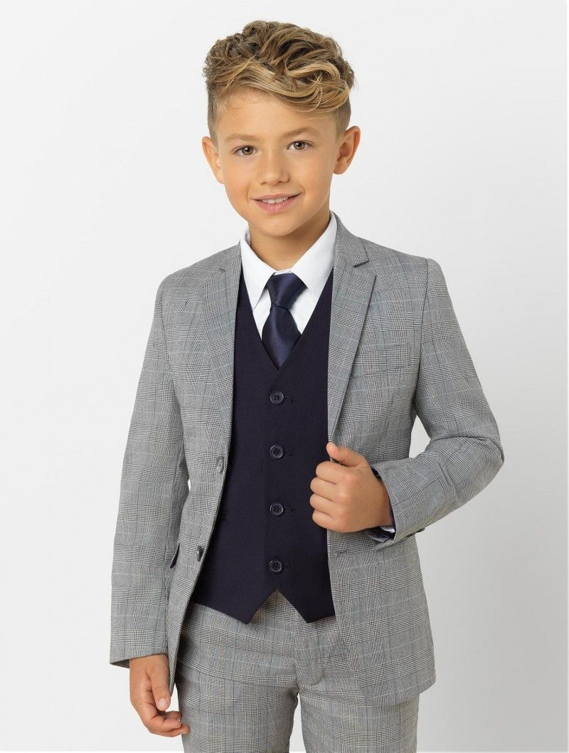 73473211855b2c Boys grey check & navy suit | Boys Prince of Wales check suit with navy  waistcoat | Paisley of London | Henry | Roco