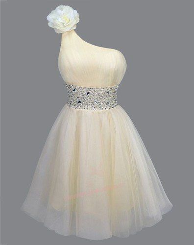 Classic Rhinestones Padded Single Shoulder Prom Dresses S Apricot on Wanelo