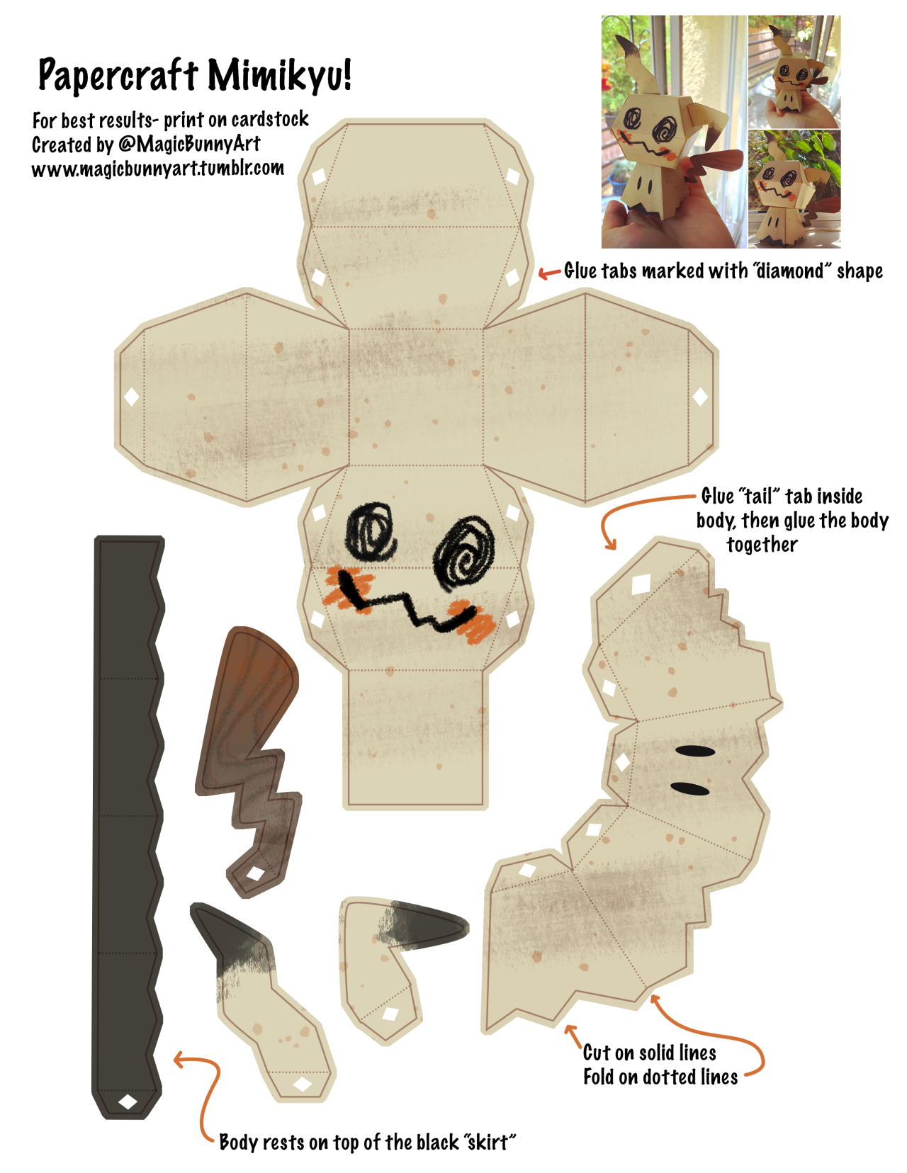 magicbunnyart want to make your own mimikyu here s the template i made i printed mine on a