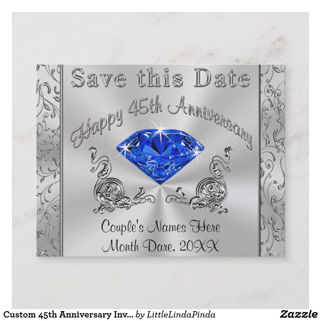Custom 45th Anniversary Invitations Save the Date Zazzle