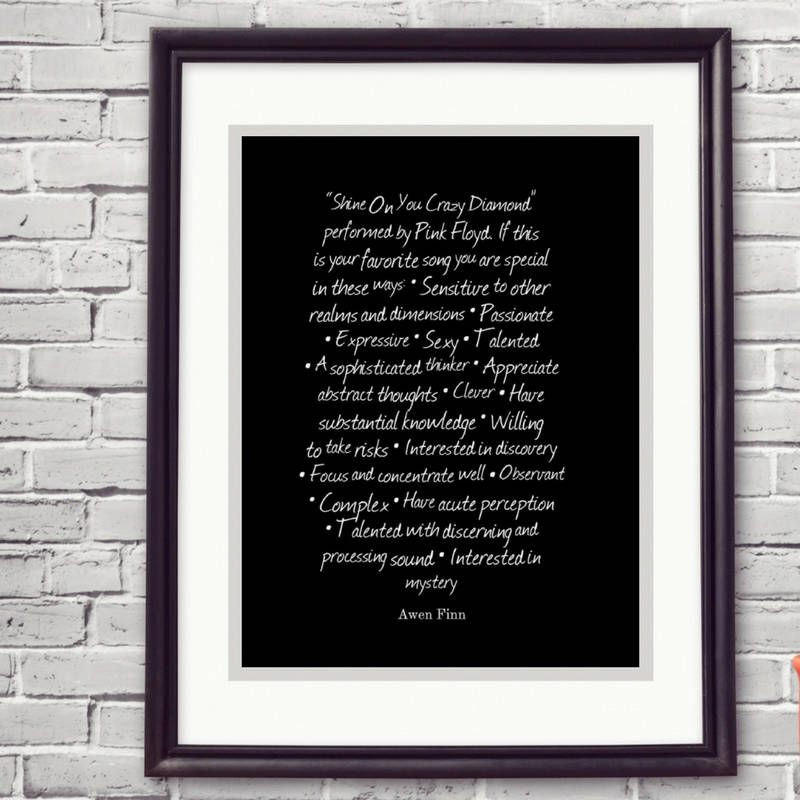Pink Floyd quote print music lovers gift Shine on you crazy diamond
