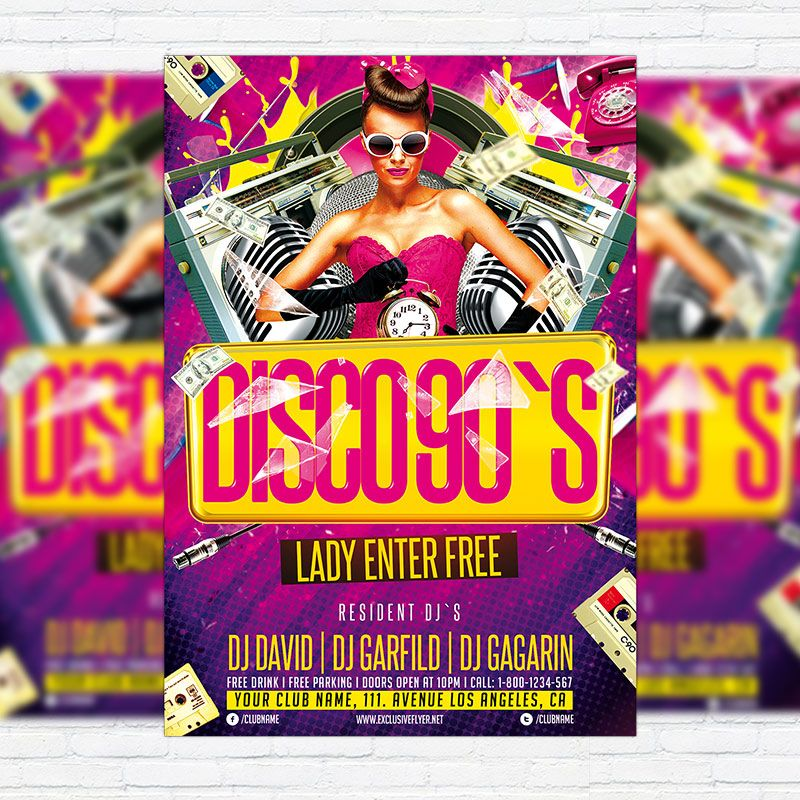 Disco 90`s Party u2013 Premium Flyer Template + Facebook Cover   - picnic flyer template