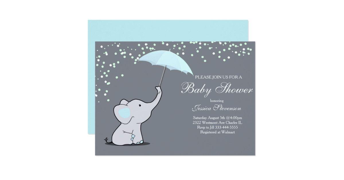 Elephant holding umbrella baby shower invitation   Elephant baby ...