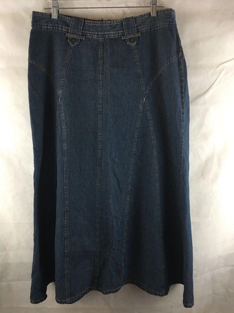 0ce5d8f5ba331 Christopher Banks Women s Full Length Denim Blue Jean Skirt Sz Size 12 A- Line