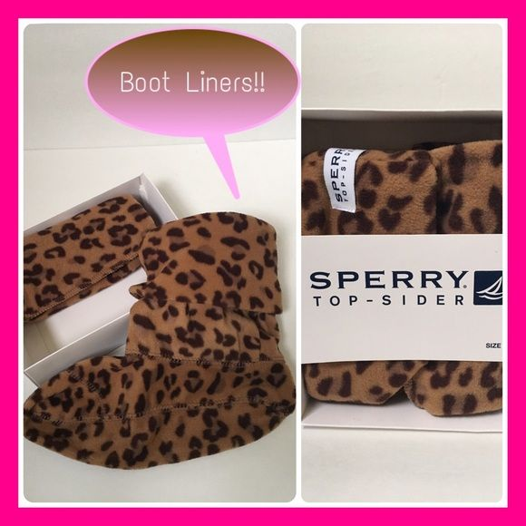 Sperry Top Sider Short Boot Liners These boot liners fit right into any boot for an extra layer of warmth and fold over the top to reveal a cute knit design. Looks great with rain boots, uggs, bearpaws, and other similar styles. Come brand new in box Sperry Top-Sider Shoes Winter & Rain Boots