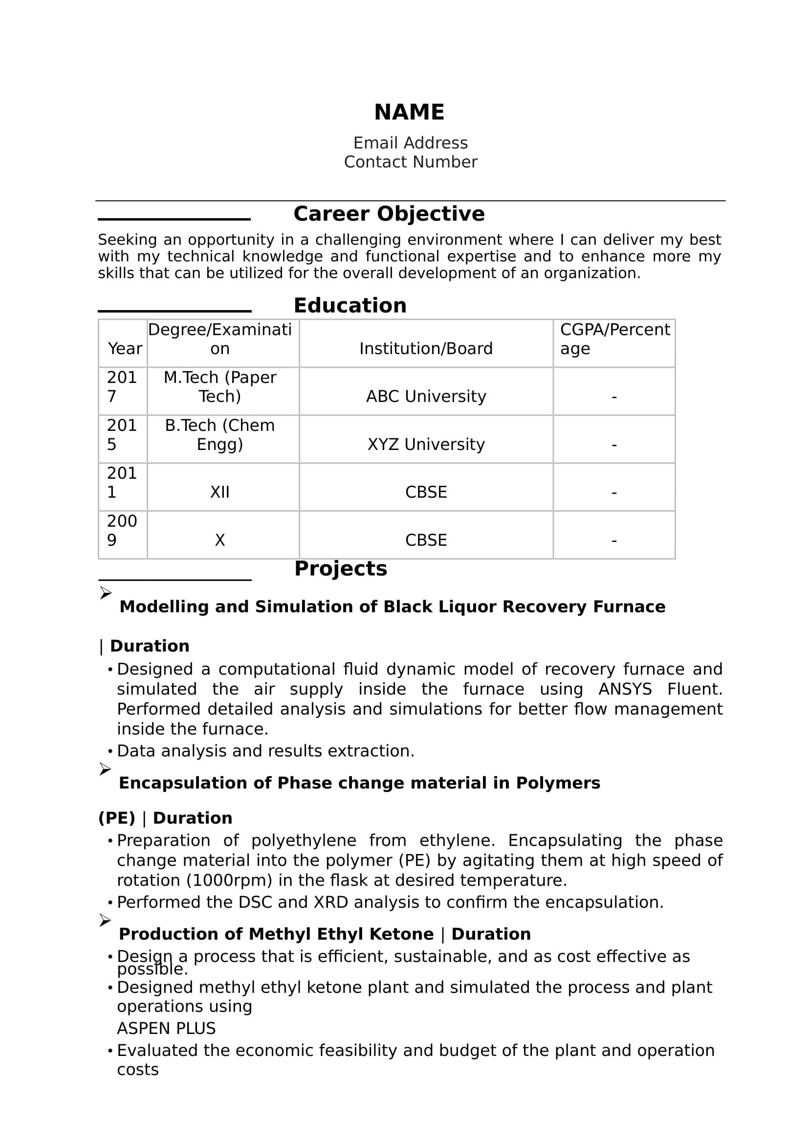 32+ Resume Templates For Freshers Download Free Word Format