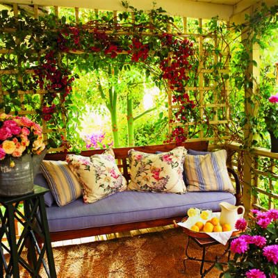 This looks very appealing and very easy to add to a corner or a side of a deck/patio.  The lattice and bouganvilles help with the shade