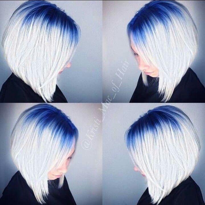 White Hair With Blue Roots Royal Blue Hair Hair Styles Angled Bob Hairstyles
