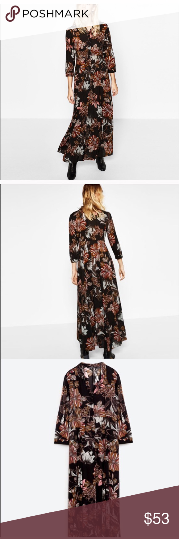 Zara long dress w floral print small nwt gathered skirt front