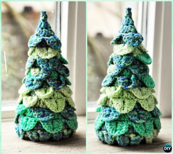 Crochet Crocodile Stitch Christmas Tree Free Pattern Instruction