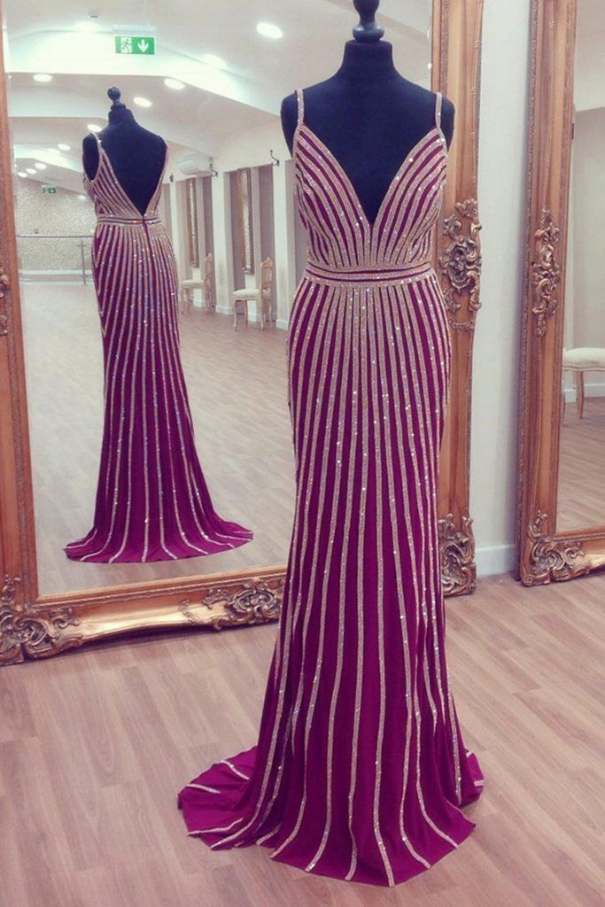 Pretty rosy chiffon sequins evening long dresses, homecoming dresses with straps