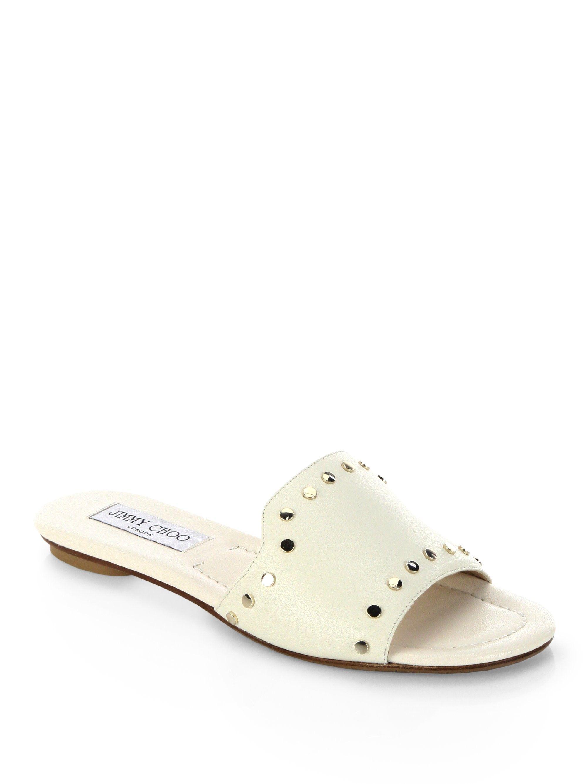 64f063c1d43b Jimmy Choo Nanda Nwu Studded Leather Slides - White Gold 35.5 (5.5 ...