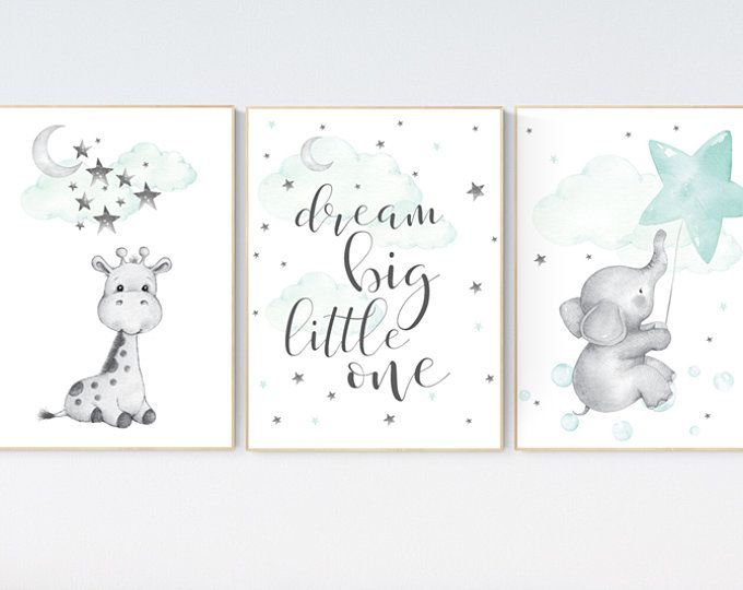 Nursery decor elephant, Mint nursery decor, dream big little one, gender neutral nursery, cloud and star nursery, elephant nursery prints
